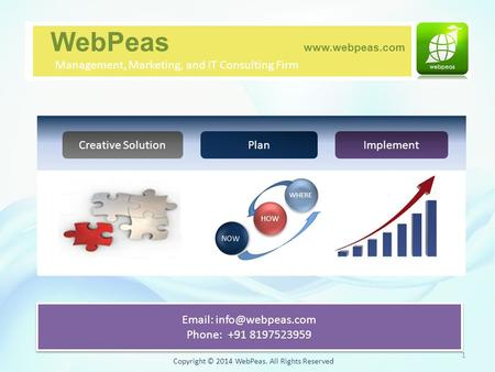 Copyright © 2014 WebPeas. All Rights Reserved Creative SolutionPlanImplement WebPeas  Management, Marketing, and IT Consulting Firm