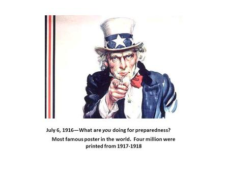 July 6, 1916—What are you doing for preparedness? Most famous poster in the world. Four million were printed from