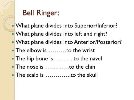 Bell Ringer: What plane divides into Superior/Inferior? What plane divides into left and right? What plane divides into Anterior/Posterior? The elbow is.