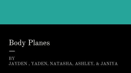Body Planes BY ; JAYDEN, YADEN, NATASHA, ASHLEY, & JANIYA.