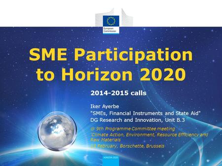 Iker Ayerbe SMEs, Financial Instruments and State Aid DG Research and Innovation, Unit B.3 SME Participation to Horizon 9th Programme Committee.