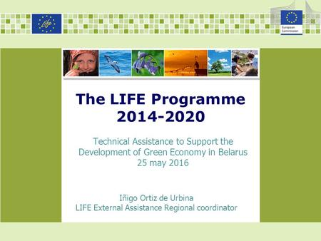 The LIFE Programme Iñigo Ortiz de Urbina LIFE External Assistance Regional coordinator Technical Assistance to Support the Development of Green.