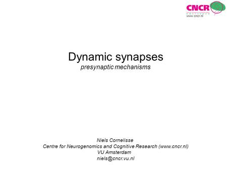 Dynamic synapses presynaptic mechanisms Niels Cornelisse Centre for Neurogenomics and Cognitive Research (www.cncr.nl) VU Amsterdam