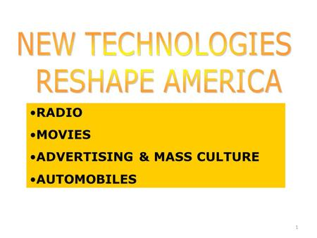 1 RADIO MOVIES ADVERTISING & MASS CULTURE AUTOMOBILES.