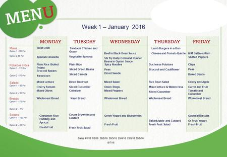Week 1 – January 2016 Mains Option Por Option 2-50 Por Beef Chilli Potatoes / Rice Option Por Option Por Salads Option 1 – 50 Por.