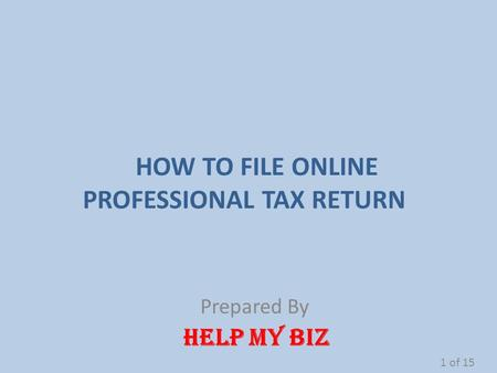 HOW TO FILE ONLINE PROFESSIONAL TAX RETURN Prepared By HELP MY BIZ 1 of 15.