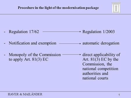 HAVER & MAILÄNDER 1 Procedure in the light of the modernisation package -Regulation 17/62Regulation 1/2003 -Notification and exemptionautomatic derogation.