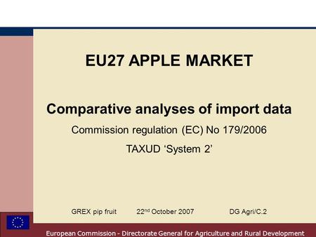 European Commission - Directorate General for Agriculture and Rural Development EU27 APPLE MARKET Comparative analyses of import data Commission regulation.