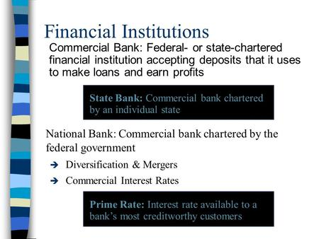Financial Institutions Commercial Bank: Federal- or state-chartered financial institution accepting deposits that it uses to make loans and earn profits.