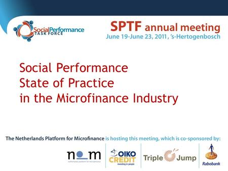 Social Performance State of Practice in the Microfinance Industry.