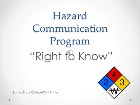 "Hazard Communication Program ""Right to Know"" Lamar State College-Port Arthur 1."