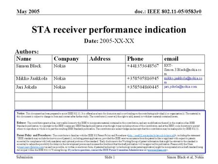 Doc.: IEEE /0583r0 Submission May 2005 Simon Black et al, NokiaSlide 1 STA receiver performance indication Notice: This document has been prepared.