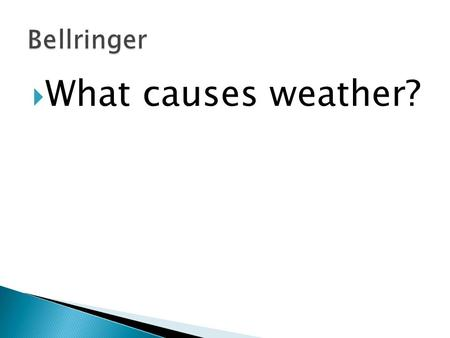  What causes weather?. 1. Anticipatory Set o Bellringer o Objective 2. Input (Notes on Fronts) 3. Guided Practice – Front ID Game 4. Independent Practice.