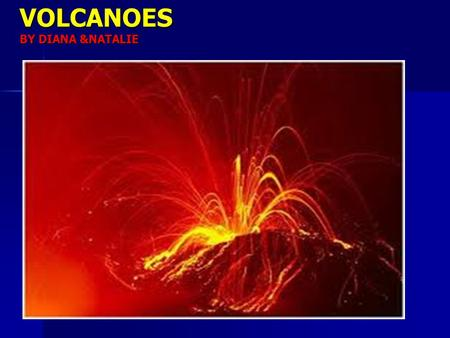 VOLCANOES BY DIANA &NATALIE. HOT SPOT VOLCANOES  IT IS AN AREA WHERE MATIREAL FROM DEEP WITHIN THE MANTLE RISES AND THEN MELTS,FORMING MAGMA.  A VOLCANO.