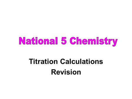Titration Calculations Revision. titration - accurate neutralisation of an acid with an alkali data obtained can be used to do calculations equation used.