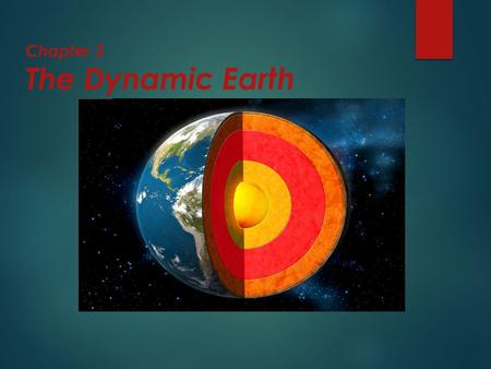 Chapter 3 The Dynamic Earth. The Earth as a System  The Earth is an integrated system that consists of rock, air, water, and living things that all interact.