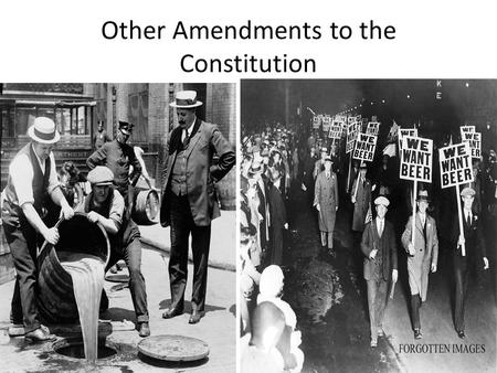 Other Amendments to the Constitution. Reconstruction Amendments 13th Slavery and involuntary servitude banned Except as punishment for crime 1865.