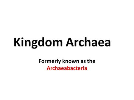Kingdom Archaea Formerly known as the Archaeabacteria.