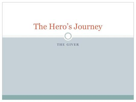 THE GIVER The Hero's Journey. Ordinary World The everyday life of the hero before he knows he's a hero. We learn details of our Hero including his true.