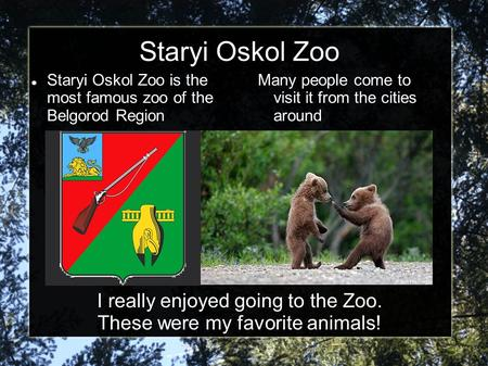 Staryi Oskol Zoo is the most famous zoo of the Belgorod Region Many people come to visit it from the cities around Staryi Oskol Zoo I really enjoyed going.