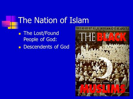 The Nation of Islam The Lost/Found People of God: Descendents of God.
