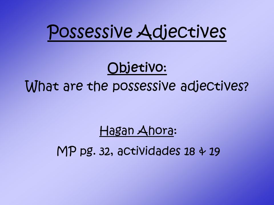Possessive Adjectives Objetivo: What are the possessive adjectives.