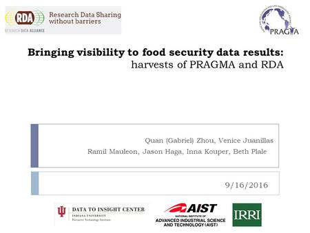 Bringing visibility to food security data results: harvests of PRAGMA and RDA Quan (Gabriel) Zhou, Venice Juanillas Ramil Mauleon, Jason Haga, Inna Kouper,