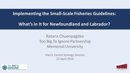 Implementing the Small-Scale Fisheries Guidelines: What's in It for Newfoundland and Labrador? Ratana Chuenpagdee Too Big To Ignore Partnership Memorial.