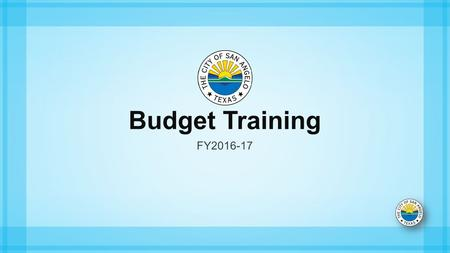 Budget Training FY Budget Training Annual Budget Preparation Process Budget Goals The goal of this budgeting standard operating procedure.