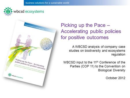 Picking up the Pace – Accelerating public policies for positive outcomes A WBCSD analysis of company case studies on biodiversity and ecosystems regulation.
