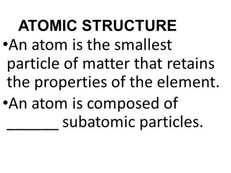 atomic structure and the periodic table chapter 10 notes