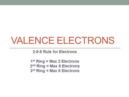 VALENCE ELECTRONS Rule for Electrons 1 st Ring = Max 2 Electrons 2 nd Ring = Max 8 Electrons 3 rd Ring = Max 8 Electrons.