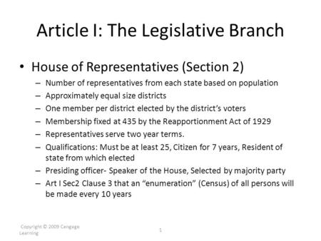 Article I: The Legislative Branch House of Representatives (Section 2) – Number of representatives from each state based on population – Approximately.