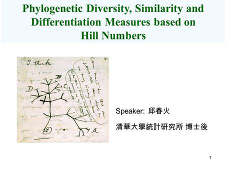1 Phylogenetic Diversity, Similarity and Differentiation Measures based on Hill Numbers Speaker: 邱春火 清華大學統計研究所 博士後.