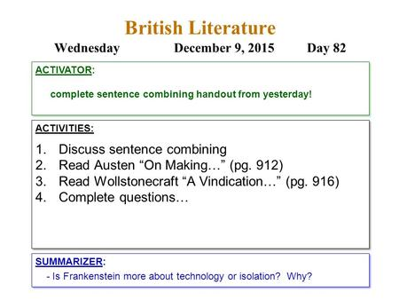 "British Literature WednesdayDecember 9, 2015 Day 82 ACTIVITIES: 1.Discuss sentence combining 2.Read Austen ""On Making…"" (pg. 912) 3.Read Wollstonecraft."
