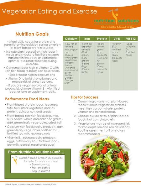 Nutrition Goals Meet daily needs for protein and essential amino acids by eating a variety of plant-based protein sources. Include plant-based iron-rich.