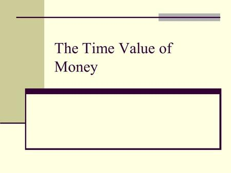 The Time Value of Money Topics Covered Future Values Present Values Multiple Cash Flows Perpetuities and Annuities Inflation & Time Value Effective Annual.