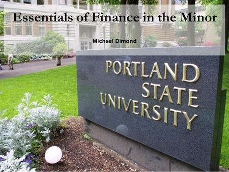 Essentials of Finance in the Minor Michael Dimond.