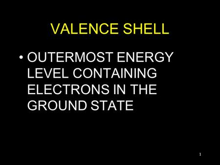 1 VALENCE SHELL OUTERMOST ENERGY LEVEL CONTAINING ELECTRONS IN THE GROUND STATE.