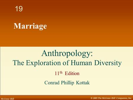McGraw-Hill © 2005 The McGraw-Hill Companies, Inc Marriage Anthropology: The Exploration of Human Diversity 11 th Edition Conrad Phillip Kottak.