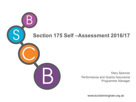 Section 175 Self –Assessment 2016/17 Mary Spencer Performance and Quality Assurance Programme Manager