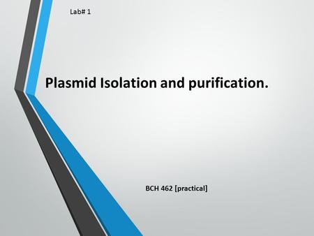 Plasmid Isolation and purification. BCH 462 [practical] Lab# 1.