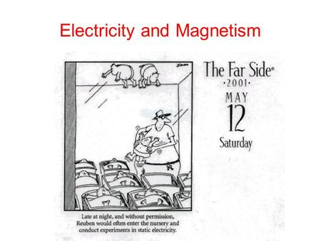 Electricity and Magnetism. Electric Fields and Electric Charge Electric Charges Exert forces that can attract and repel each other even when they are.