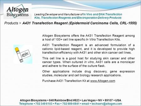 Products > A431 Transfection Reagent (Epidermoid Carcinoma Cells, CRL-1555) Altogen Biosystems offers the A431 Transfection Reagent among a host of 100+