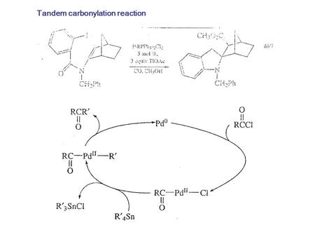 Tandem carbonylation reaction. Monsanto Process (Acetic acid Synthesis): o c, 1-40 atm Ref: BASF process: cobalt-based high pressure process.