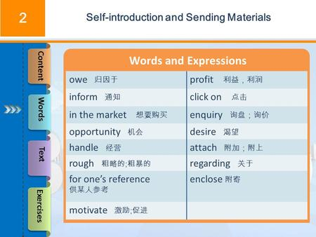 Words and Expressions Self-introduction and Sending Materials 2 owe 归因于 profit 利益,利润 inform 通知 click on 点击 in the market 想要购买 enquiry 询盘;询价 opportunity.