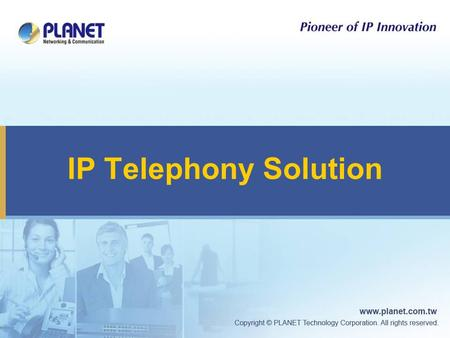 IP Telephony Solution. 2 MCU-1900 MCU-1400 Multipoint Conferencing Unit IP Phone ATA Video / Conference Phone Voice Gateway VGW-400 (2FXO, 2FXS) VGW-880.