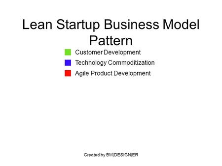 Created by BM|DESIGN|ER Lean Startup Business Model Pattern Customer Development Technology Commoditization Agile Product Development.