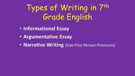 Types of <strong>Writing</strong> in 7 th Grade English Informational Essay Argumentative Essay Narrative <strong>Writing</strong> (Use First Person Pronouns)