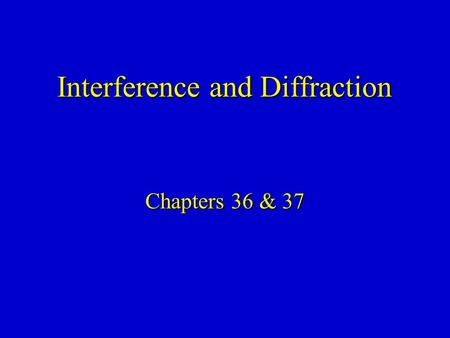 Chapters 36 & 37 Interference and Diffraction. Combination of Waves In general, when we combine two waves to form a composite wave, the composite wave.